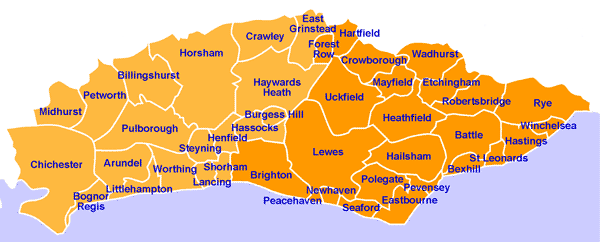map of east and west sussex